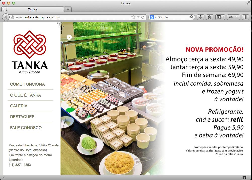 Desenvolvimento de Websites - Restaurante Tanka